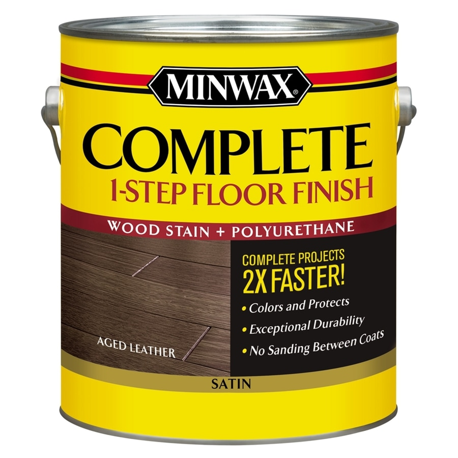 Minwax Complete 1-Step Floor Finish-Aged Leather Satin 128-fl oz Aged Leather Satin Water-Based Interior Stain