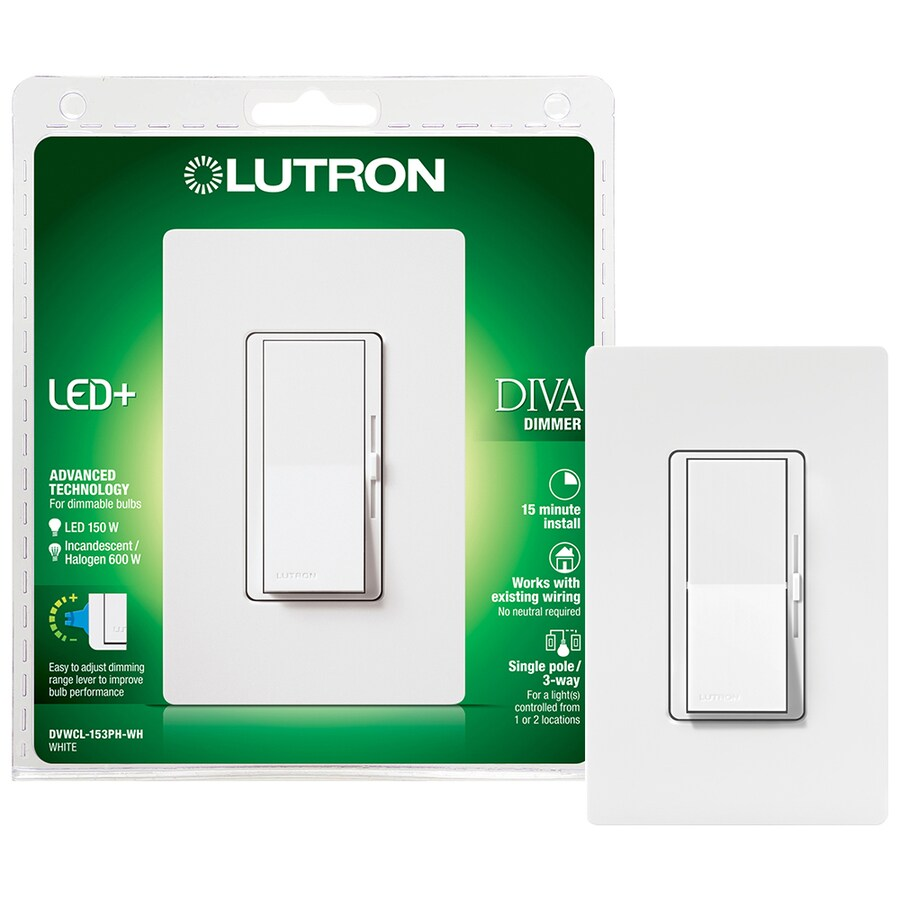 Lutron Diva 150-Watt 3-Way Single Pole White Indoor Slide Dimmer