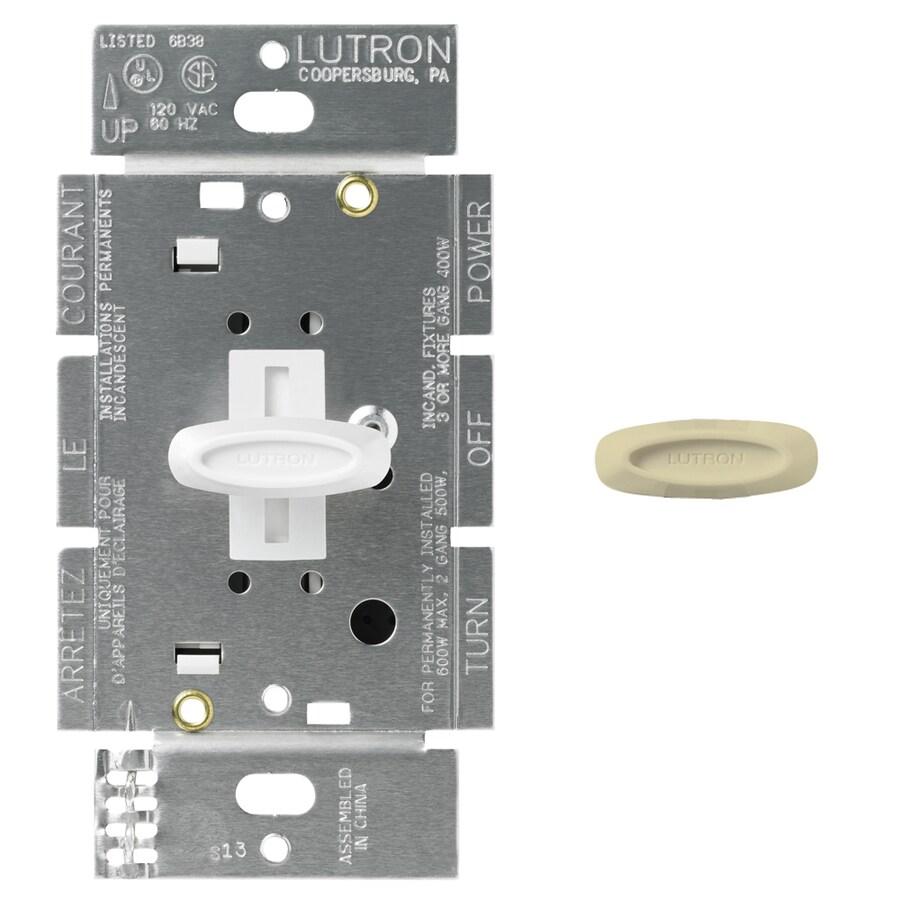 Lutron Glyder 600-Watt Single Pole White/Ivory Indoor Slide Dimmer