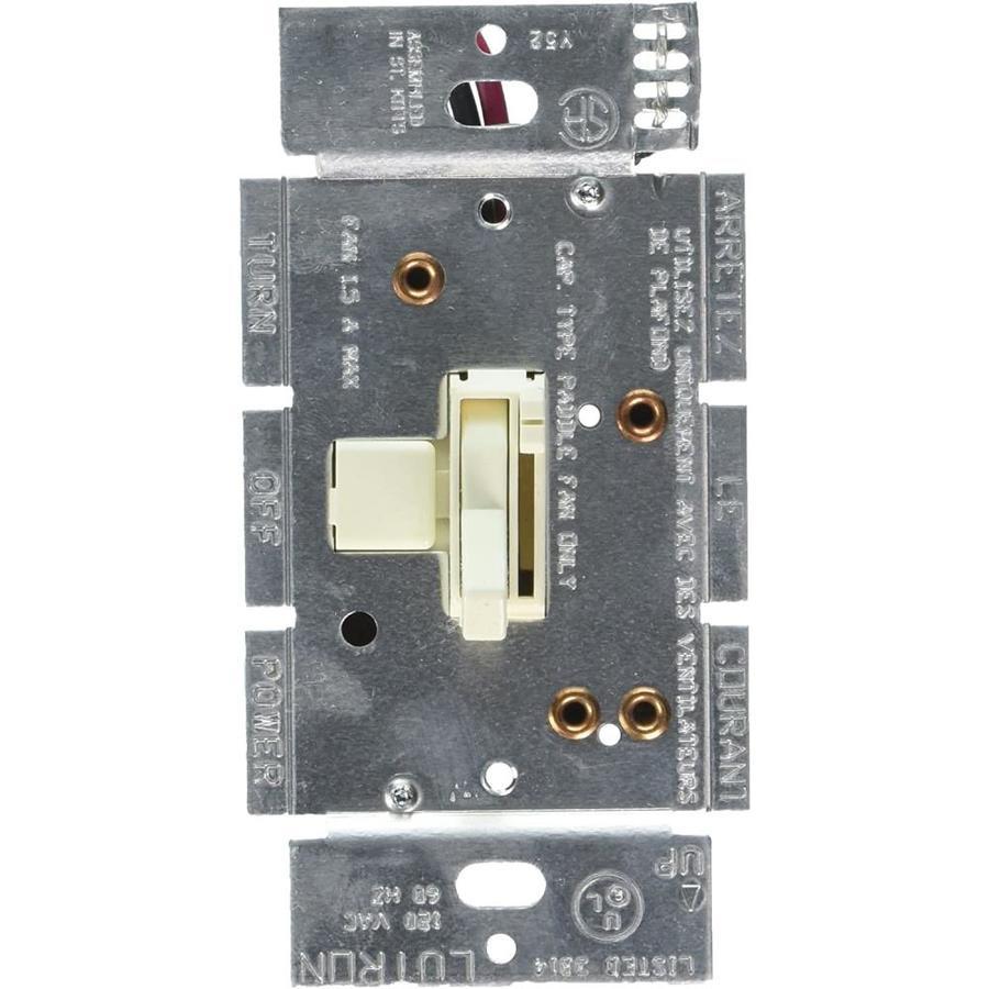 Lutron Ariadni/Toggler 3-Speed 1.5-Amp Almond Indoor Toggle Fan Control