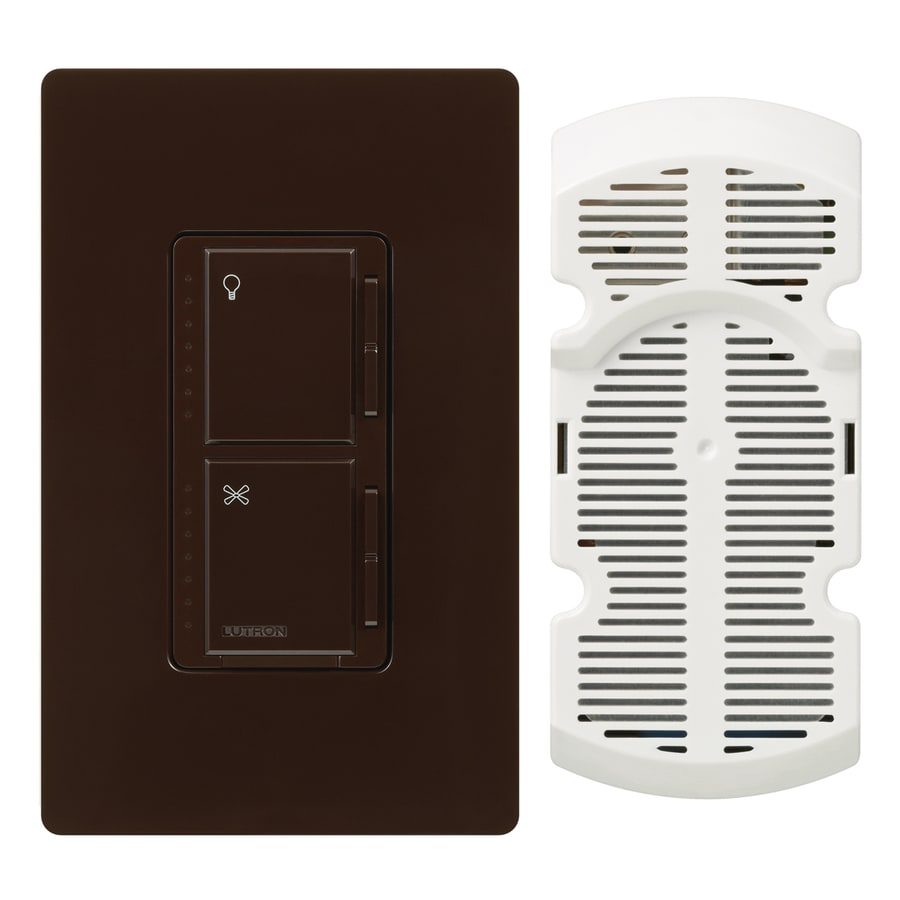 Lutron Maestro 300-Watt Single Pole Brown Indoor Touch Combination Dimmer and Fan Control