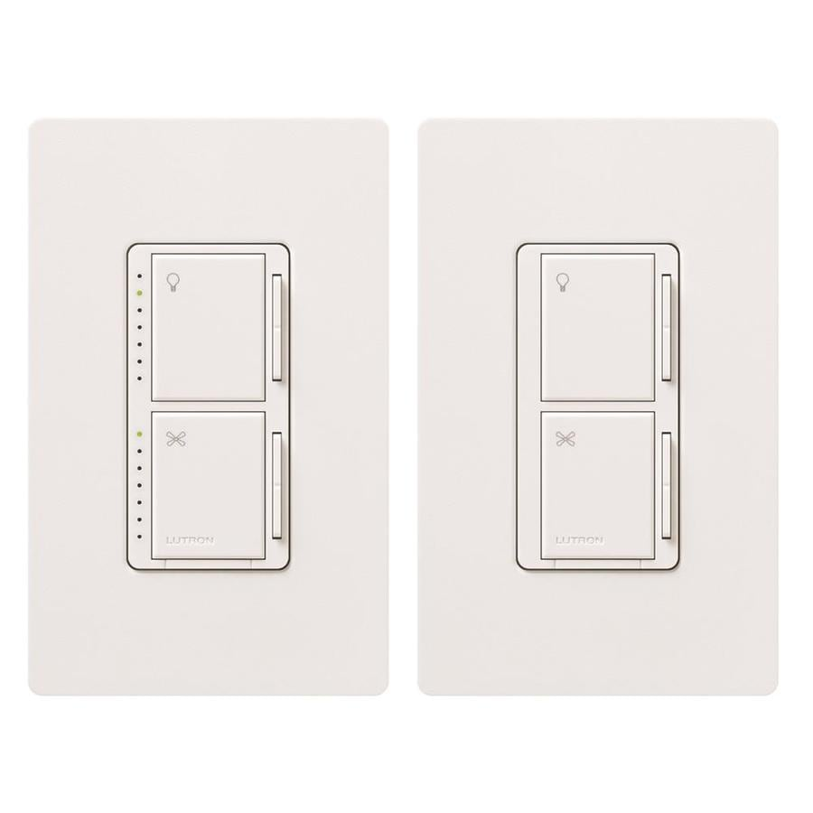 Lutron Maestro 300-Watt 3-Way Single Pole White Indoor Touch Combination Dimmer and Fan Control