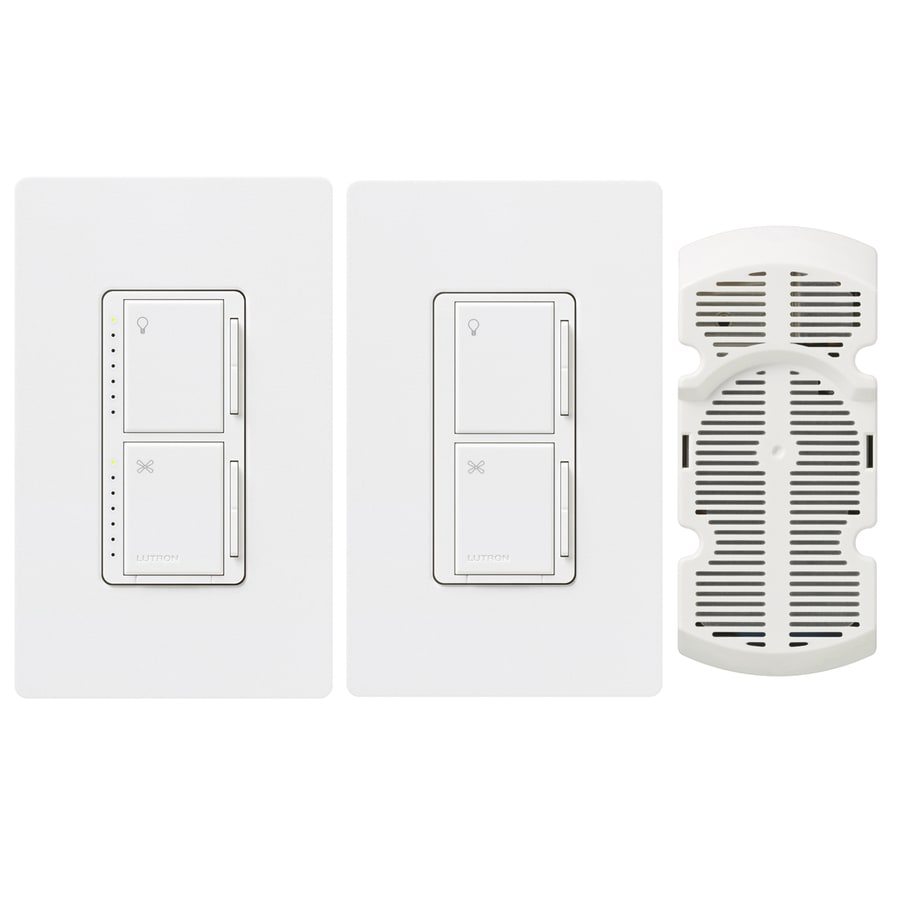 Lutron Maestro 300-Watt 3-Way Single Pole Snow Indoor Touch Combination Dimmer and Fan Control