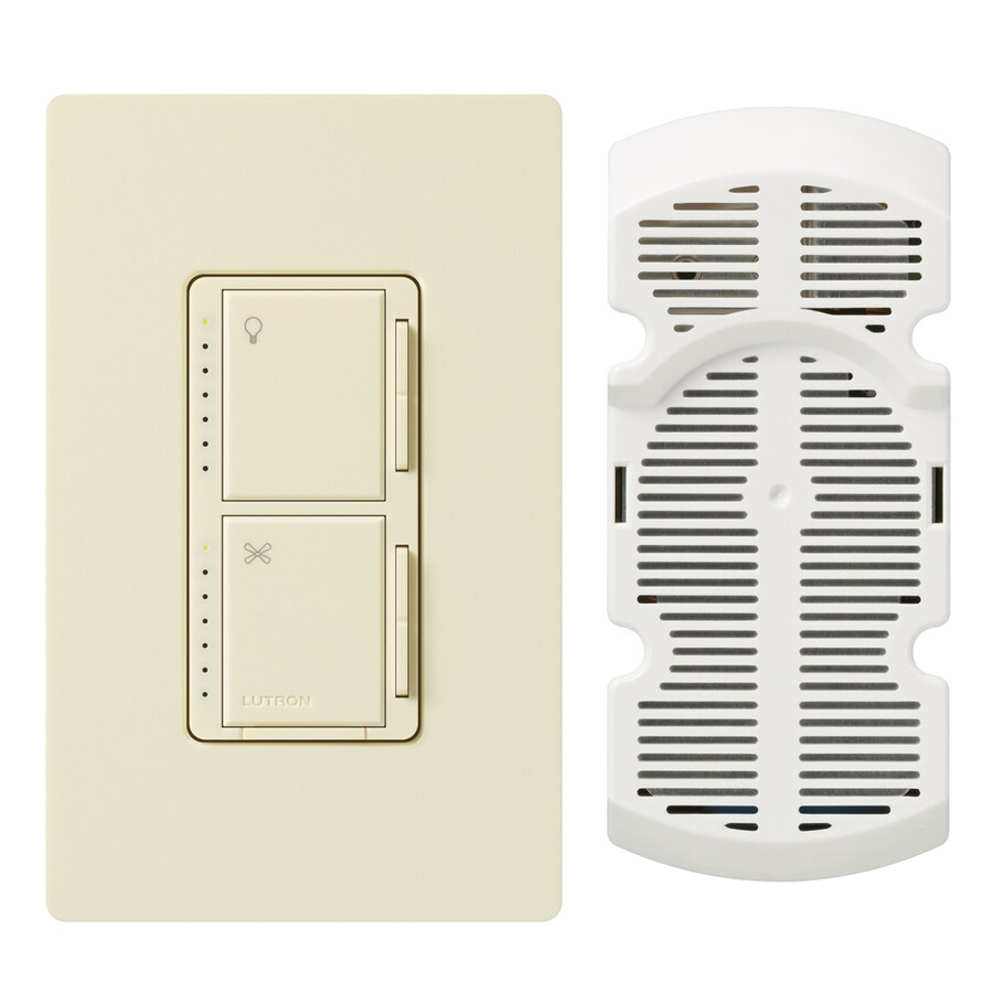Lutron Maestro 300-Watt 3-Way Single Pole Almond Indoor Touch Combination Dimmer and Fan Control