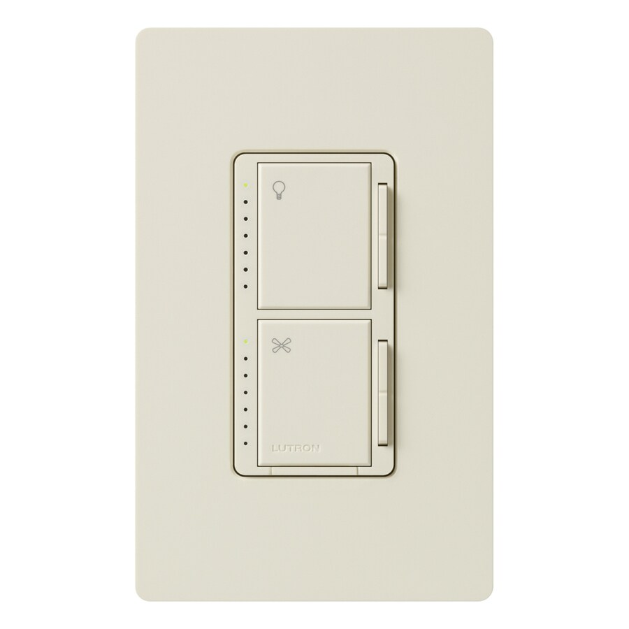 Lutron Maestro 300-Watt 3-Way Single Pole Light Almond Indoor Touch Combination Dimmer and Fan Control
