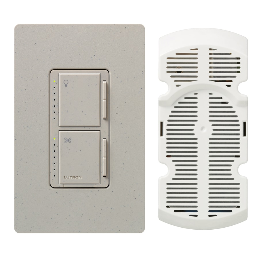 Lutron Maestro 300-Watt 3-Way Single Pole Stone Indoor Touch Combination Dimmer and Fan Control