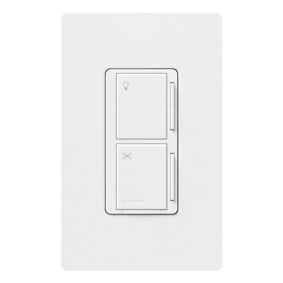 Lutron Maestro 300-Watt 3-Way 4-Way Snow Indoor Tap Combination Dimmer and Fan Control