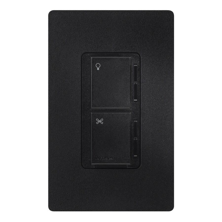 Lutron Maestro 300-Watt 3-Way 4-Way Midnight Indoor Tap Combination Dimmer and Fan Control