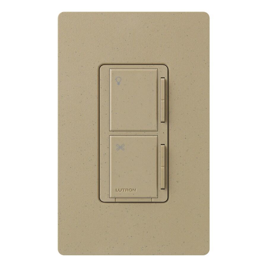 Lutron Maestro 300-Watt 3-Way 4-Way Mocha Stone Indoor Tap Combination Dimmer and Fan Control