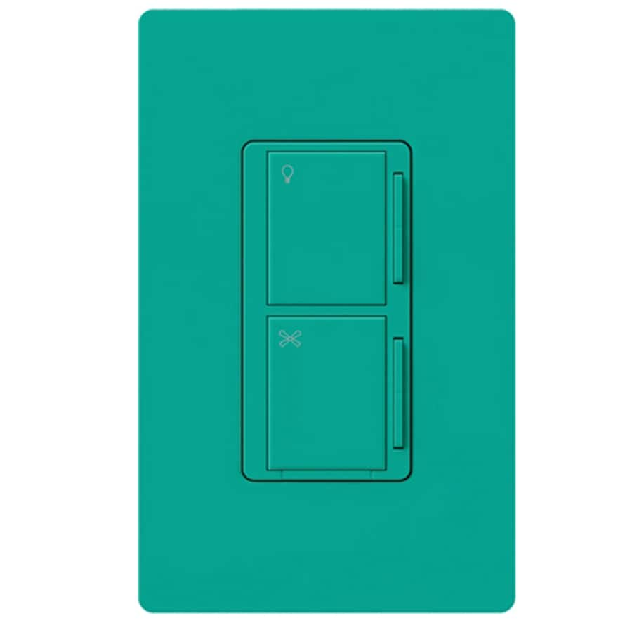 Lutron Maestro 300-Watt 3-Way 4-Way Turquoise Indoor Tap Combination Dimmer and Fan Control