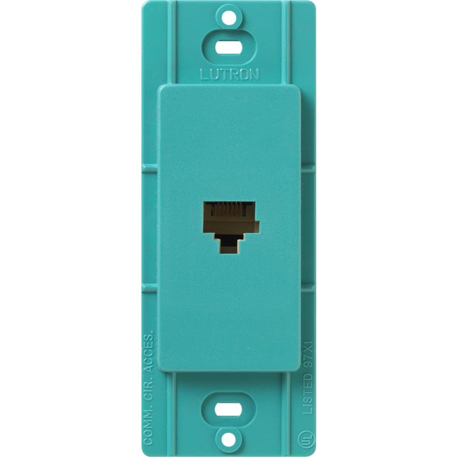 Lutron Claro Satin Color 1-Gang Turquoise Phone Wall Plate