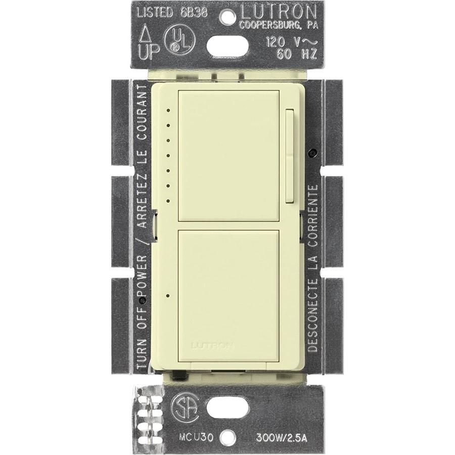 Lutron Maestro 300-Watt Single Pole Almond Indoor Touch Dimmer