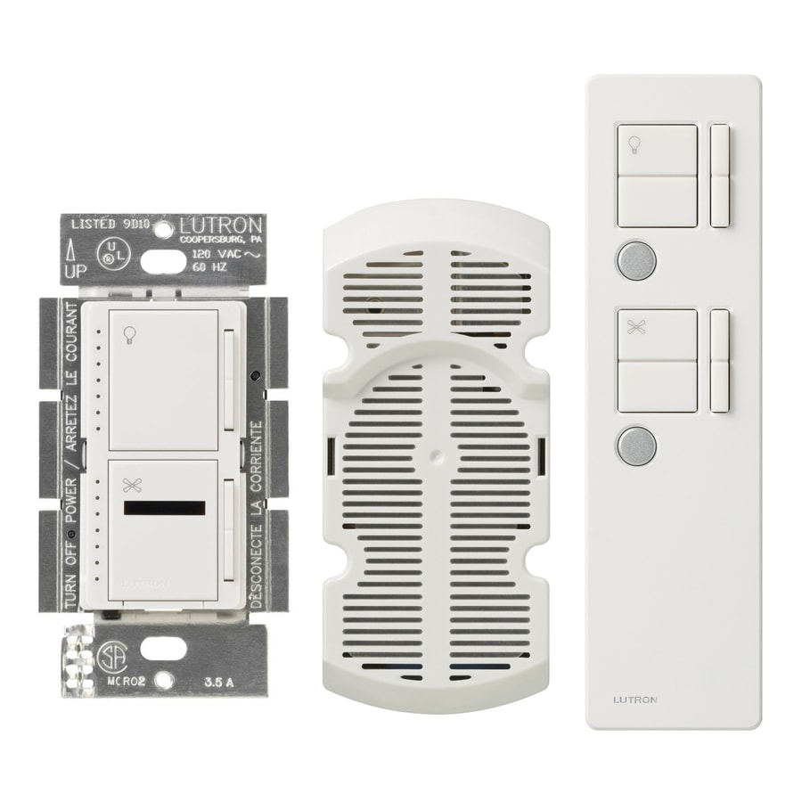 Lutron Maestro IR 2.5-Amp 300-Watt White 3-Way Digital Combination Ceiling Fan and Light Control with Remote