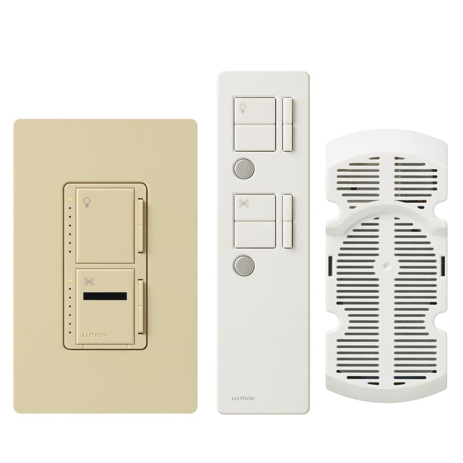Lutron Maestro IR 300-Watt 3-Way Single Pole Wireless Ivory Indoor Remote Control Combination Dimmer and Fan Control