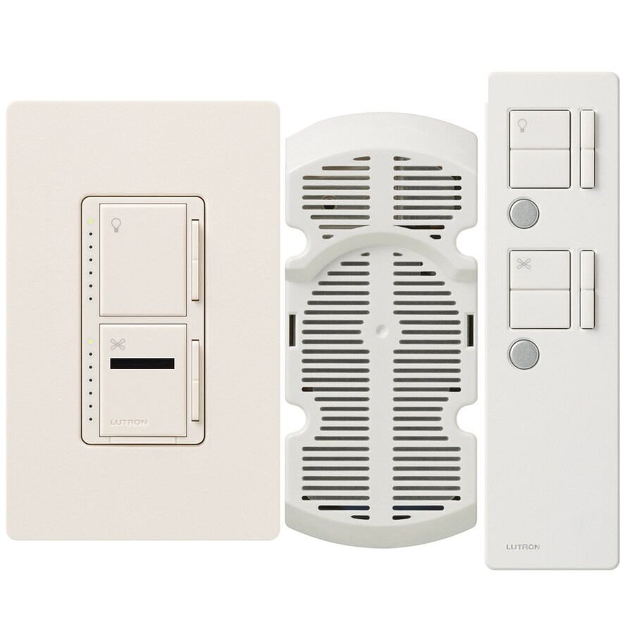 Lutron Maestro IR 300-Watt 3-Way Single Pole Wireless Eggshell Indoor Remote Control Combination Dimmer and Fan Control