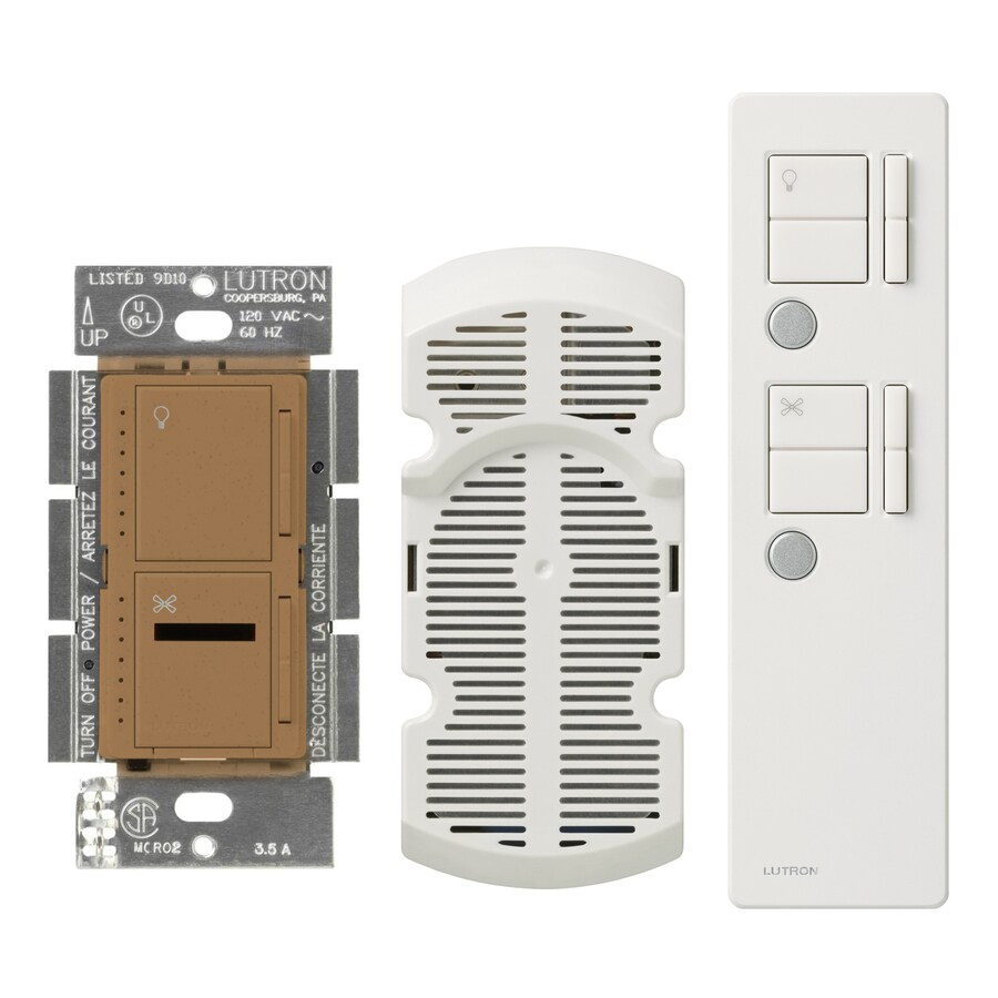 Lutron Maestro IR 300-Watt 3-Way Single Pole Wireless Terracotta Indoor Remote Control Combination Dimmer and Fan Control