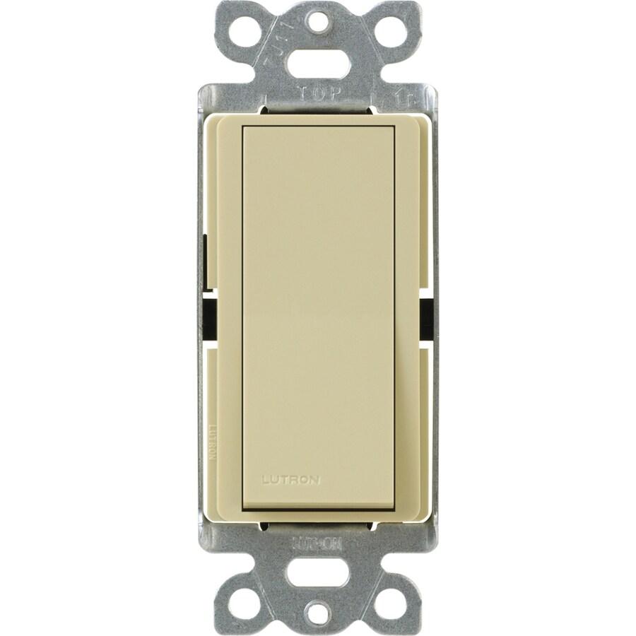 Lutron Claro 15-Amp Single Pole Ivory Indoor Push Light Switch