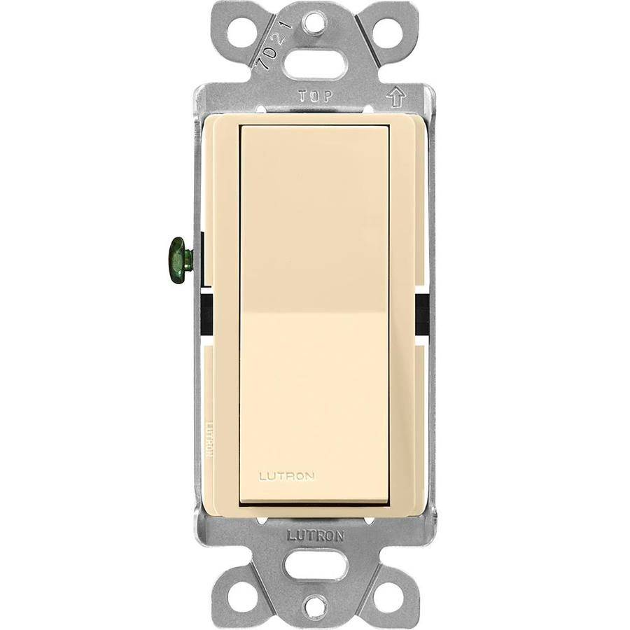 Lutron Claro 15-Amp 3-Way Double Pole Ivory Indoor Push Light Switch