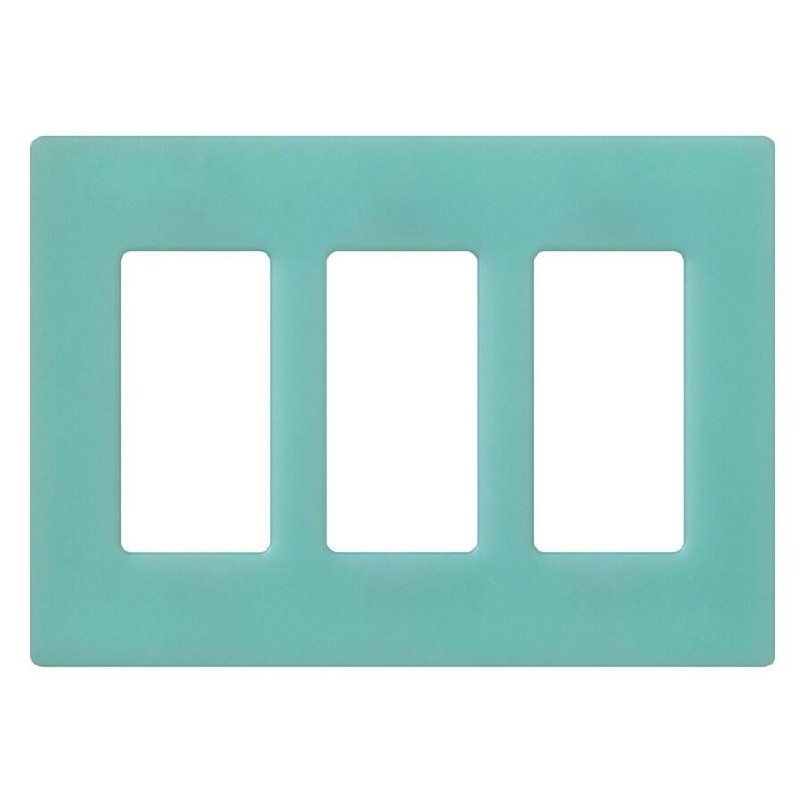 Lutron Claro 3-Gang Sea Glass Triple Decorator Wall Plate