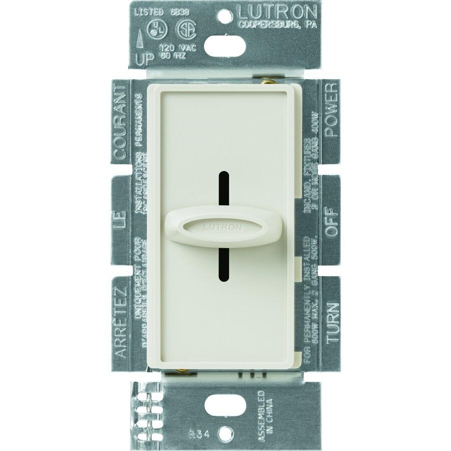 Lutron Skylark 600-Watt Single Pole Light Almond Indoor Slide Dimmer