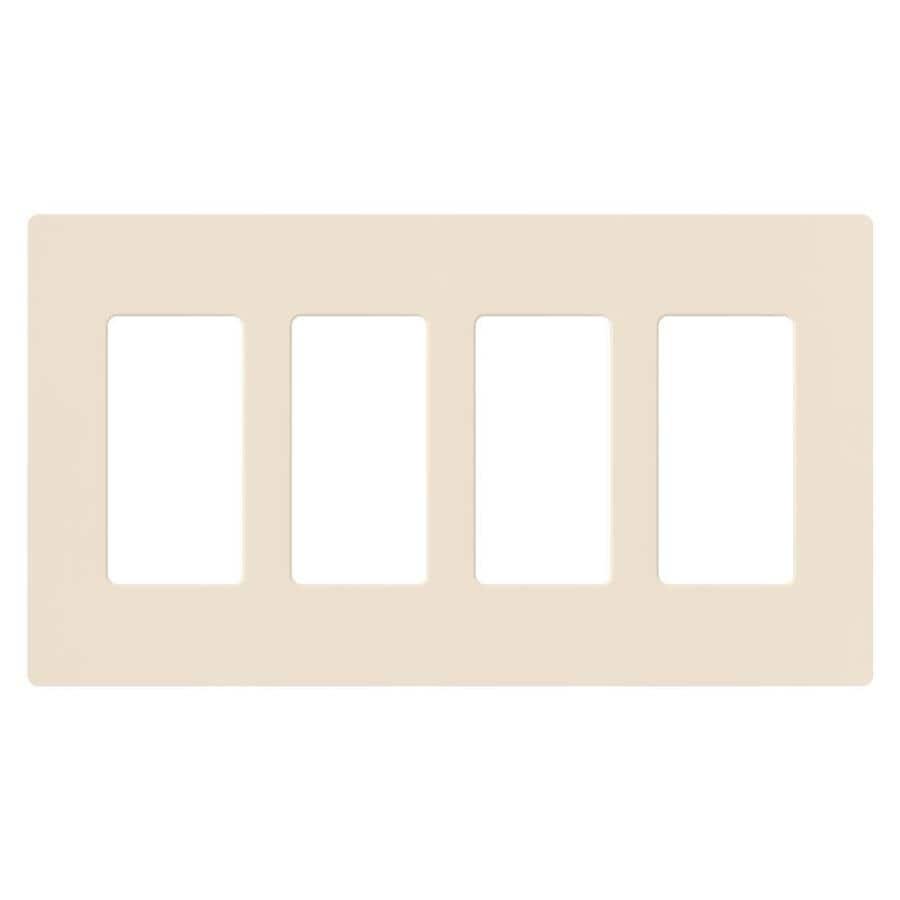 Lutron 4-Gang Light Almond Decorator Rocker Plastic Wall Plate