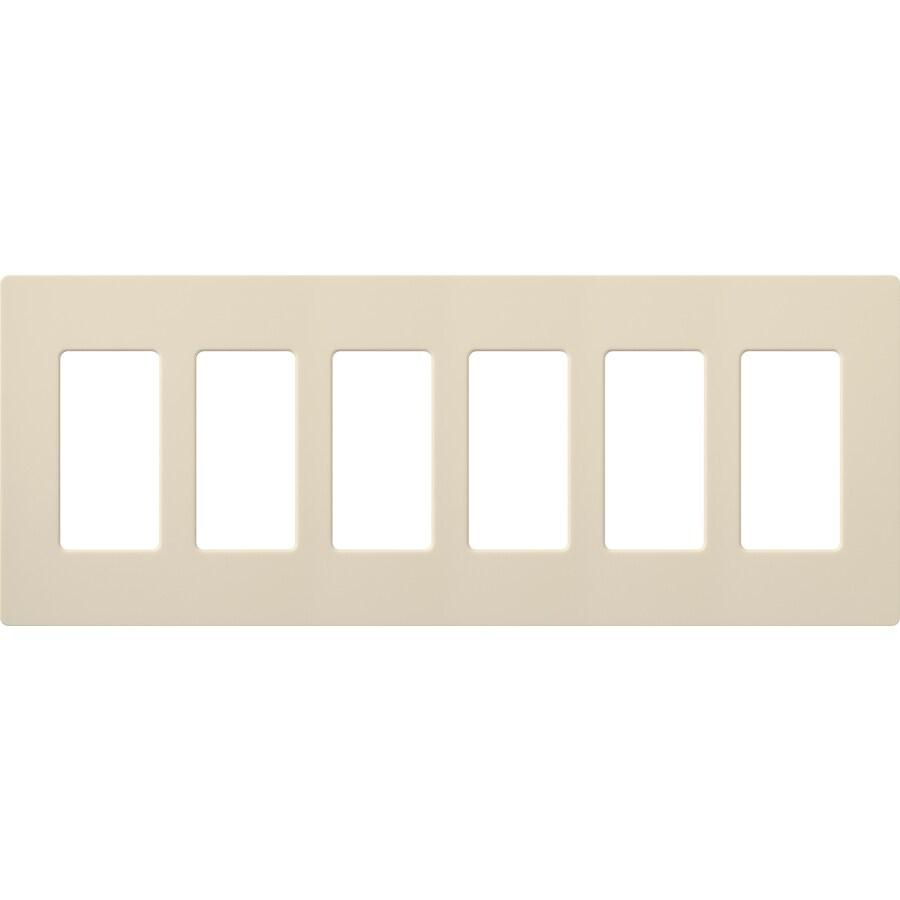 Lutron Claro 6-Gang Light Almond Six Decorator Wall Plate