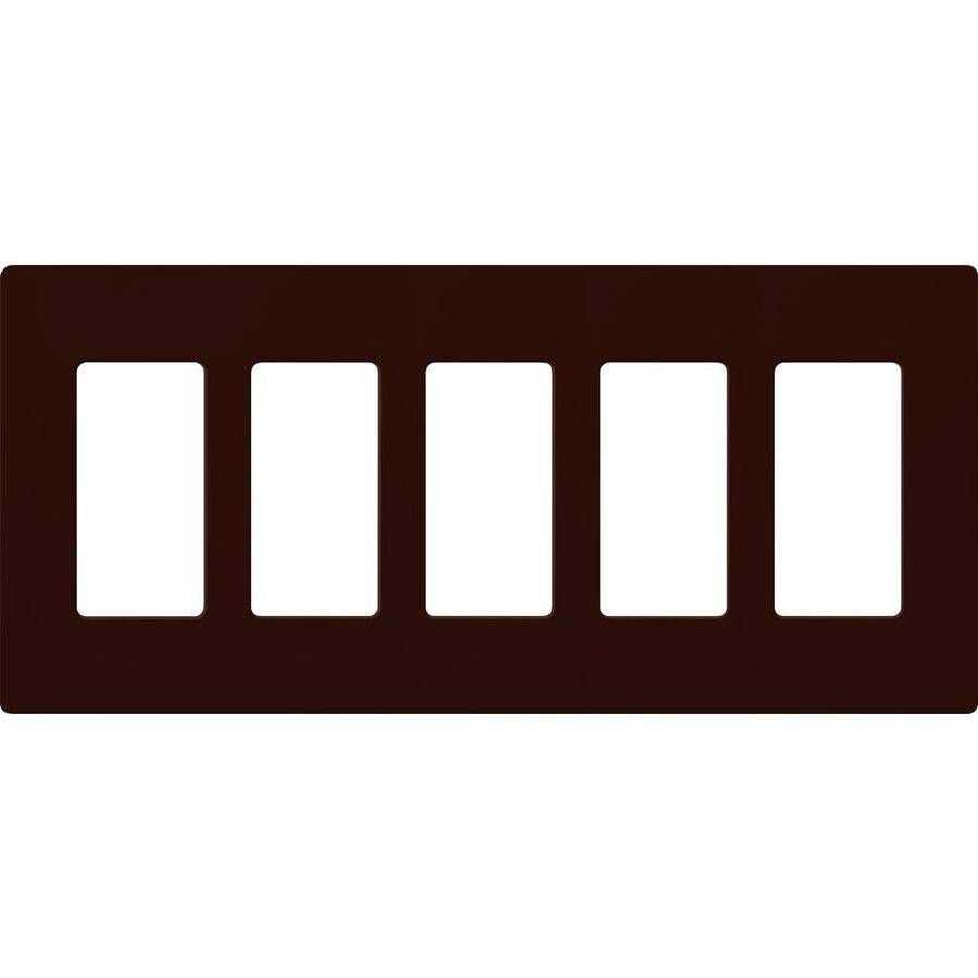 Lutron 5-Gang Brown Decorator Rocker Plastic Wall Plate