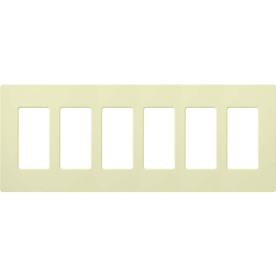 Lutron Claro 6-Gang Almond Six Decorator Wall Plate
