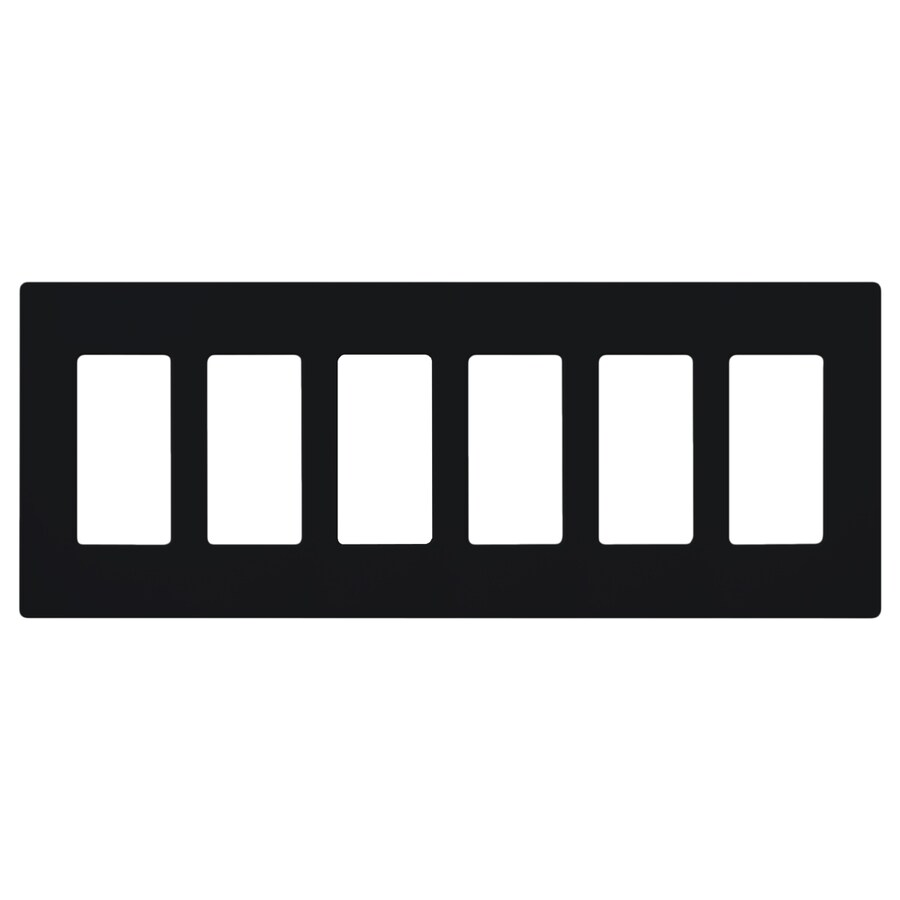 Lutron Claro 6-Gang Black Six Decorator Wall Plate