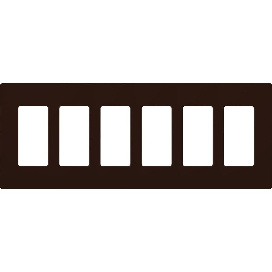Lutron Claro 6-Gang Brown Six Decorator Wall Plate