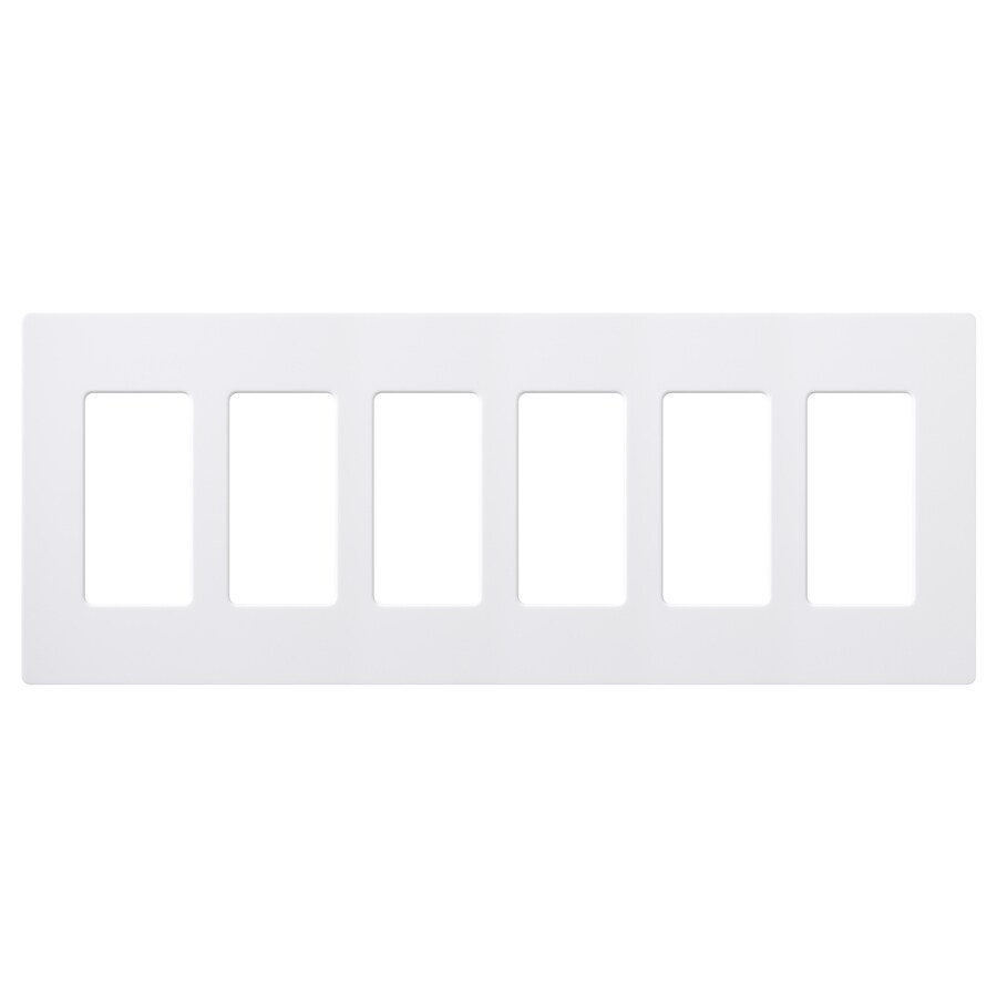 Lutron Claro 6-Gang White Six Decorator Wall Plate