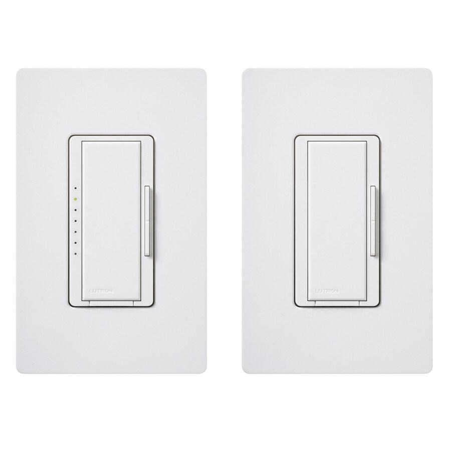 Lutron Maestro 600-Watt 3-Way 4-Way Double Pole White Indoor Tap Dimmer