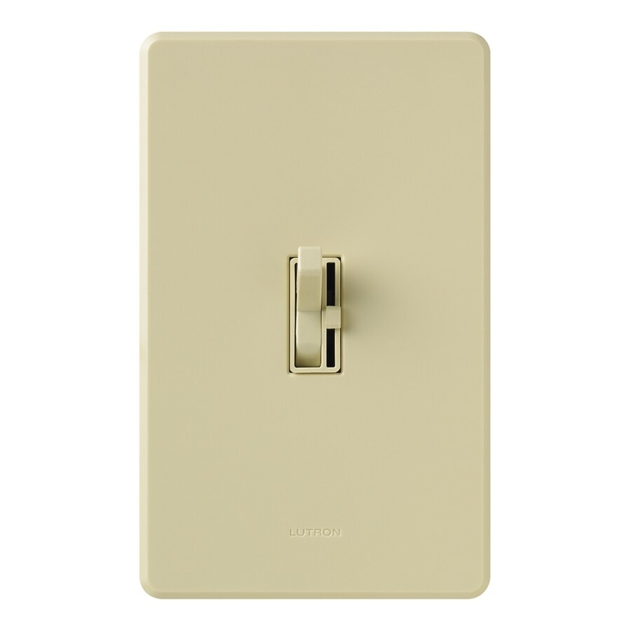 Lutron Toggler 600-Watt Single Pole Ivory Indoor Toggle Dimmer