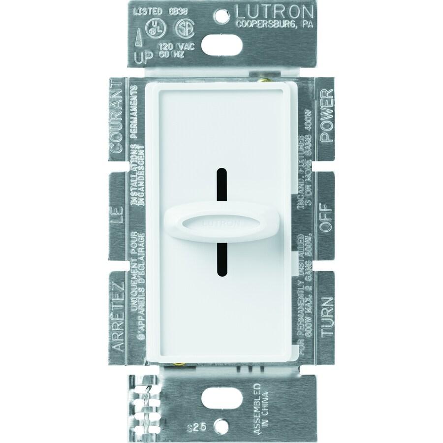 Lutron Skylark 600-Watt Single Pole White Indoor Slide Dimmer