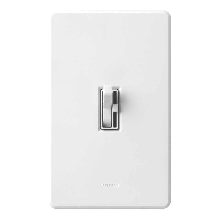Lutron Toggler 600-Watt Single Pole White Indoor Toggle Dimmer