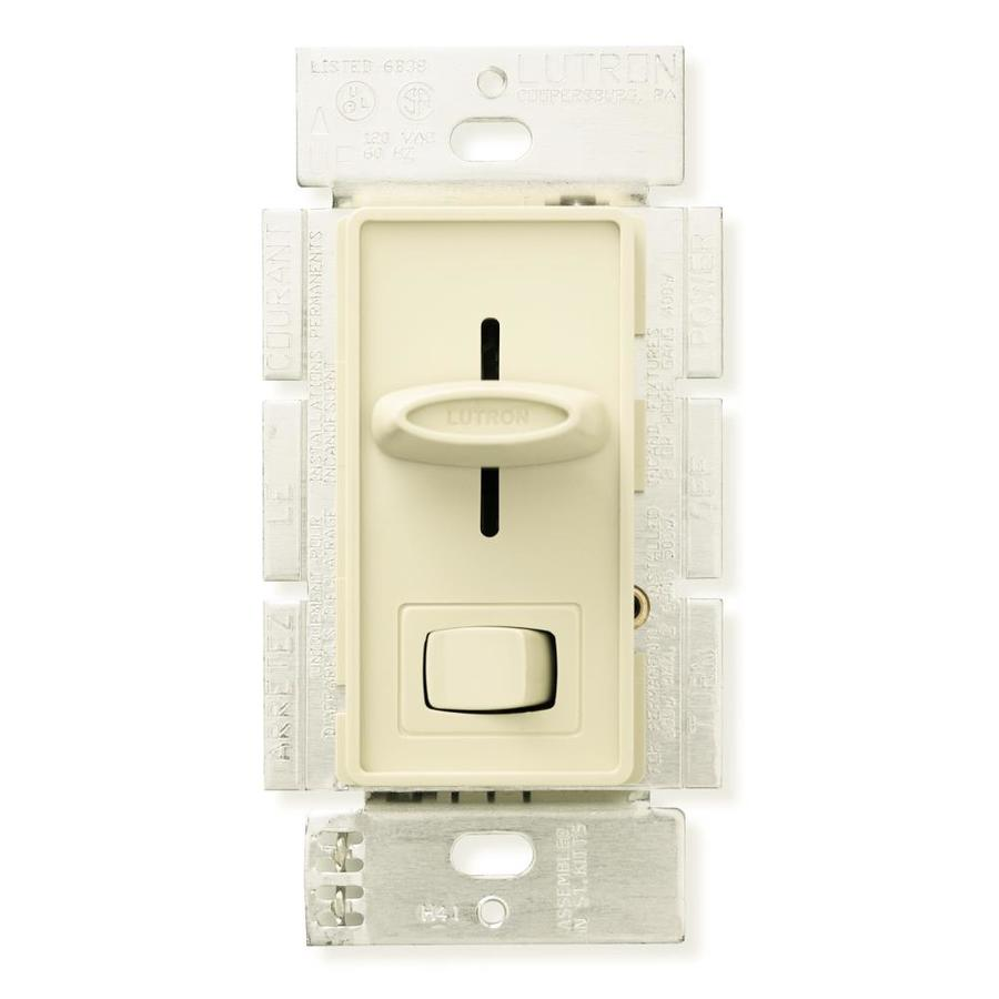 Shop Lutron Skylark 1 5 Amp Single Pole Almond Indoor Slide Combination Dimmer And Fan Control