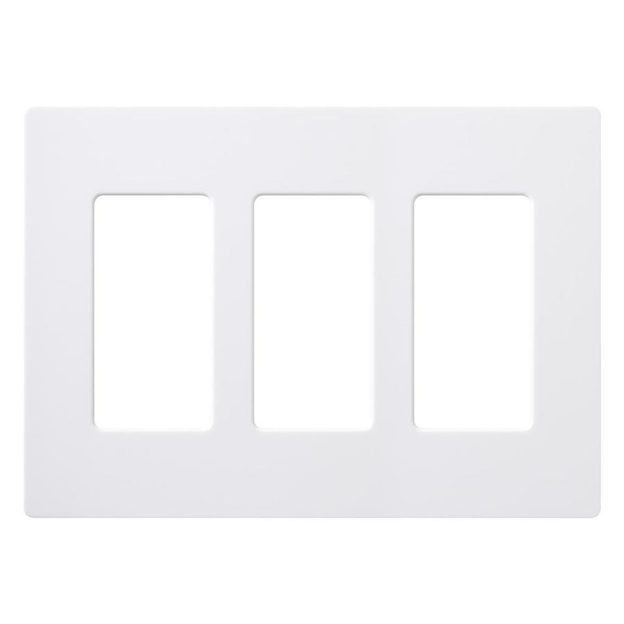 Lutron 3-Gang White/Gloss Decorator Rocker Plastic Wall Plate