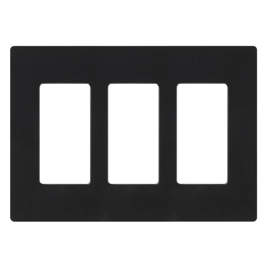 Lutron 3-Gang Black Decorator Rocker Plastic Wall Plate