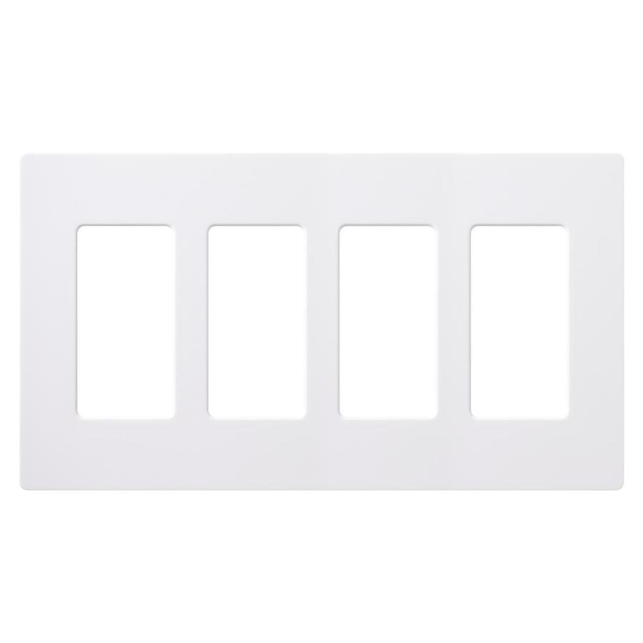 Lutron 4-Gang White/Gloss Decorator Rocker Plastic Wall Plate
