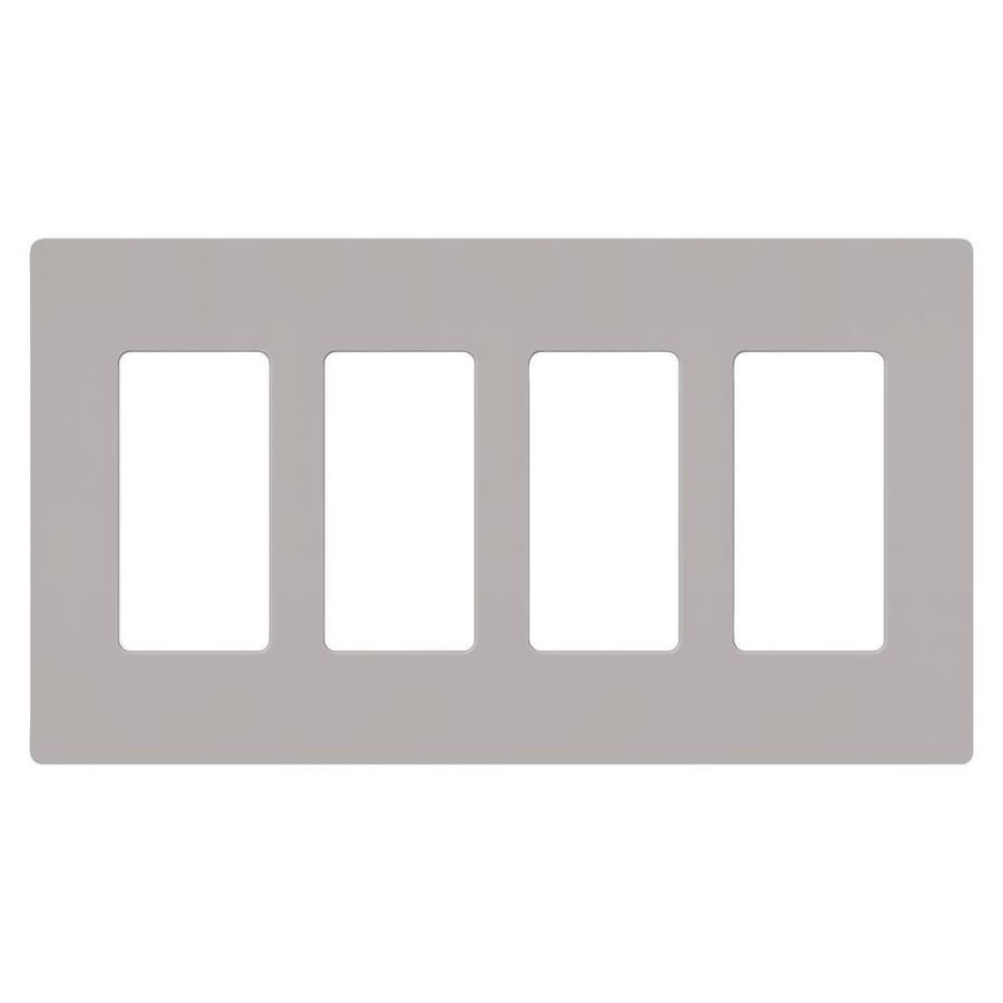 Lutron 4-Gang Gray Decorator Rocker Plastic Wall Plate