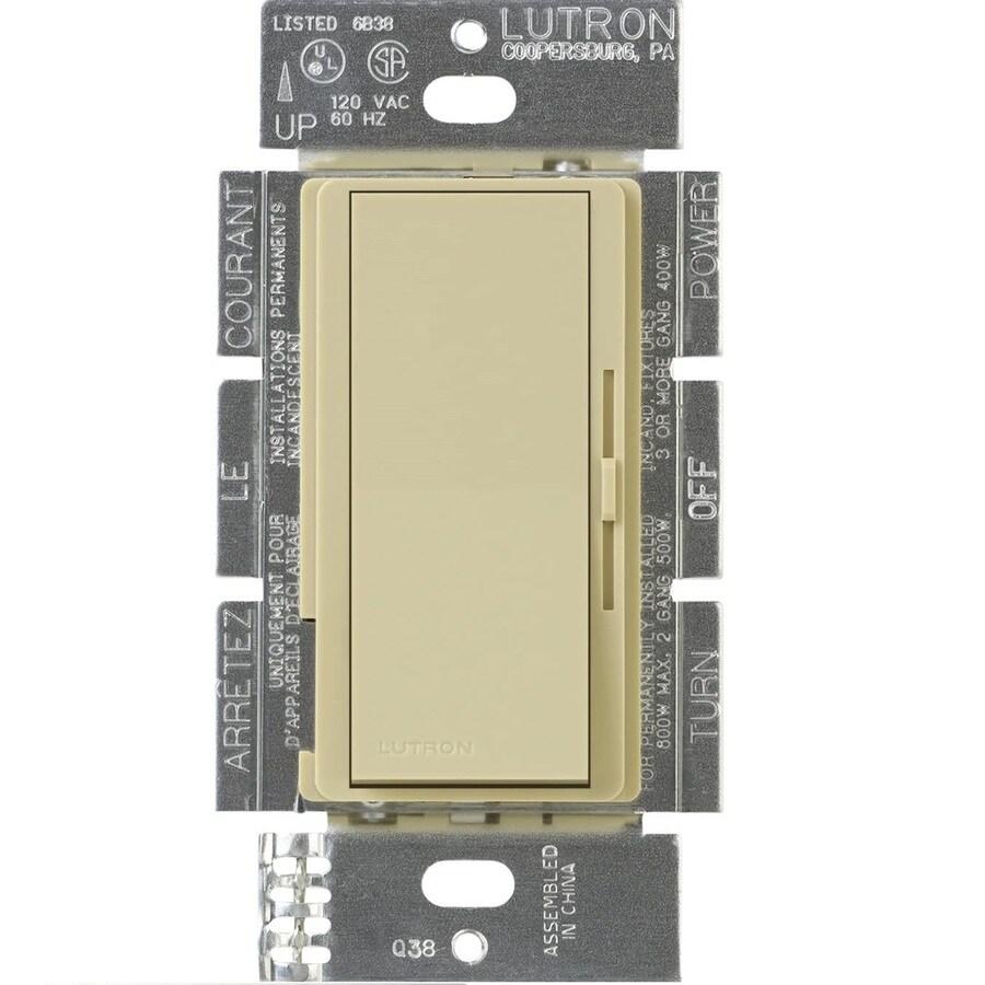 Lutron Diva 300-Watt 3-Way Double Pole Ivory Indoor Slide Dimmer