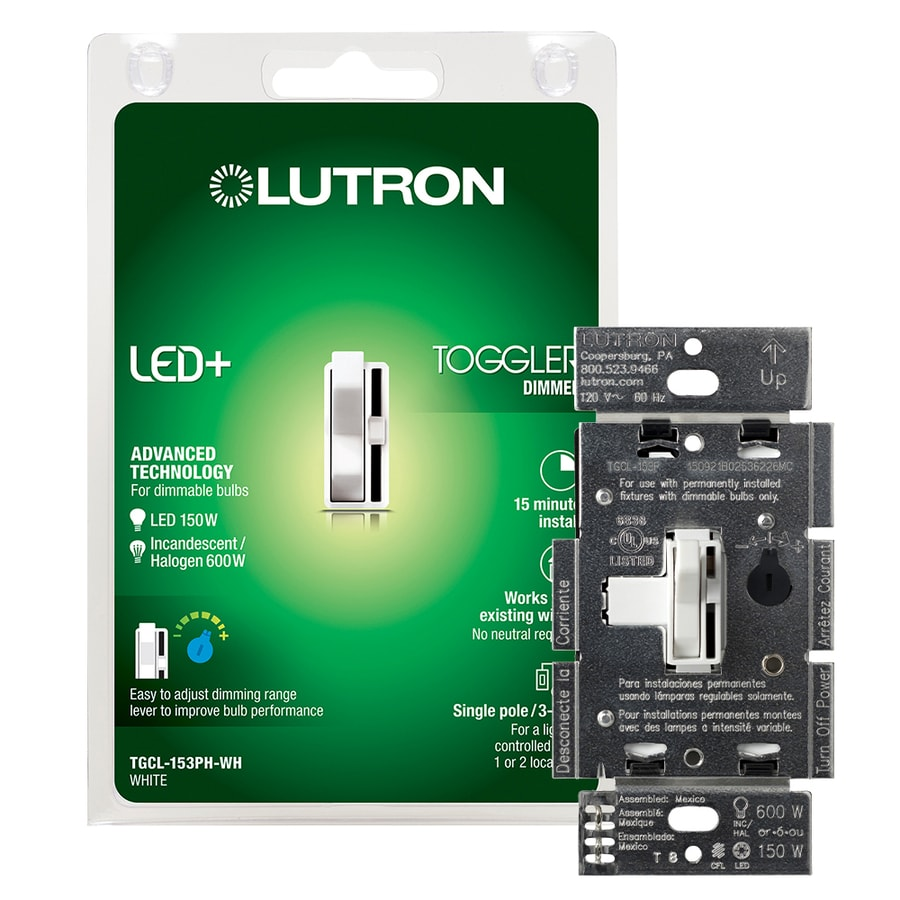 Lutron Toggler 150-Watt 3-Way Double Pole White Indoor Toggle Dimmer