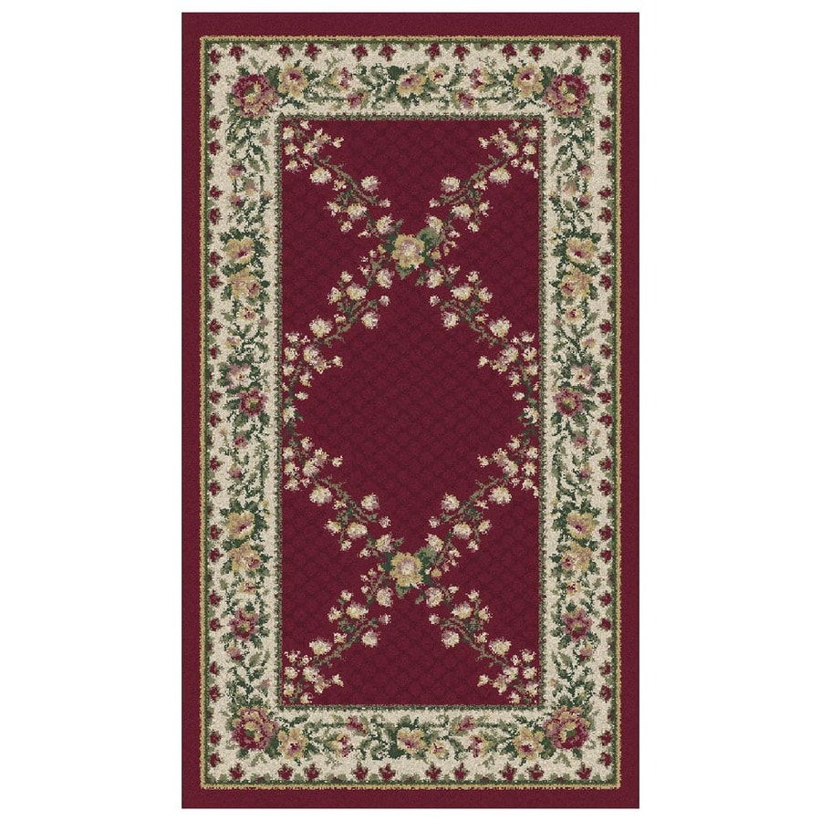 Orian Rugs Kennedy 23-in x 39-in Rectangular Red/Pink Floral Olefin/Polypropylene Accent Rug