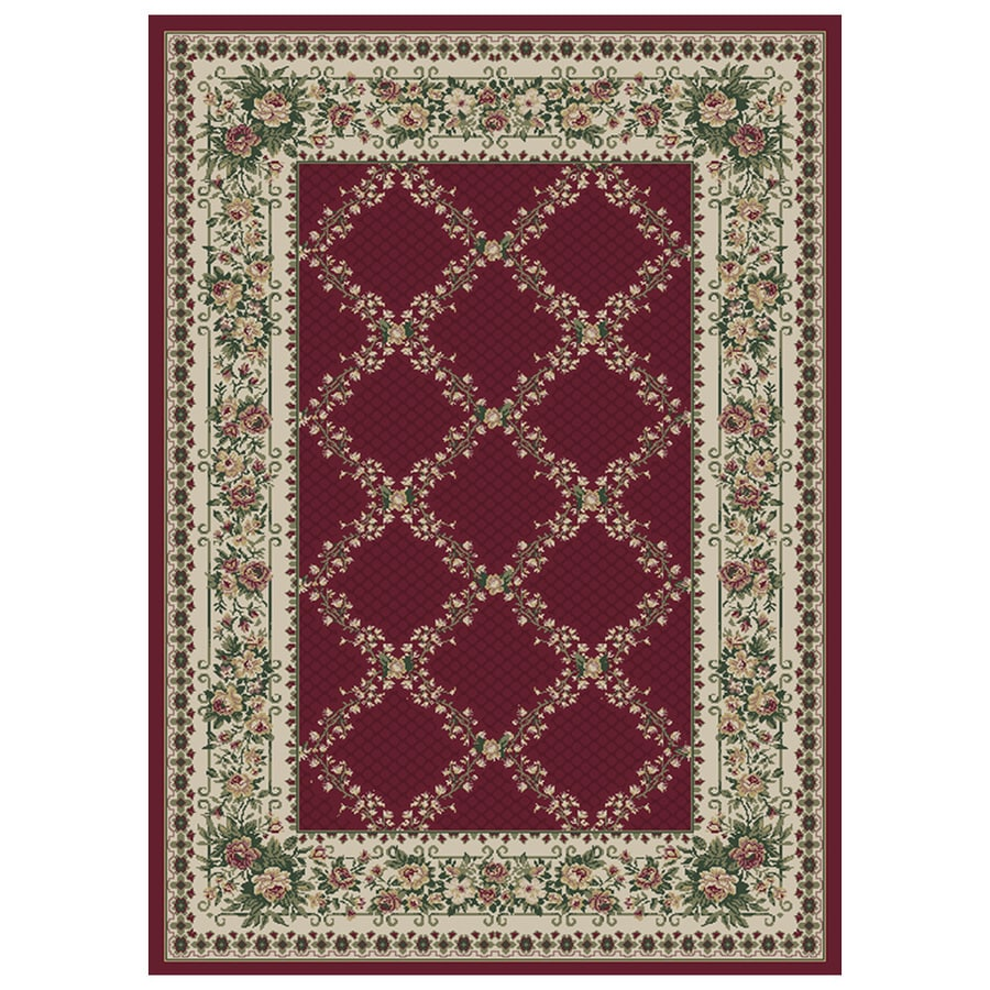 Orian Rugs Kennedy 47-in x 65-in Rectangular Red/Pink Floral Olefin/Polypropylene Area Rug