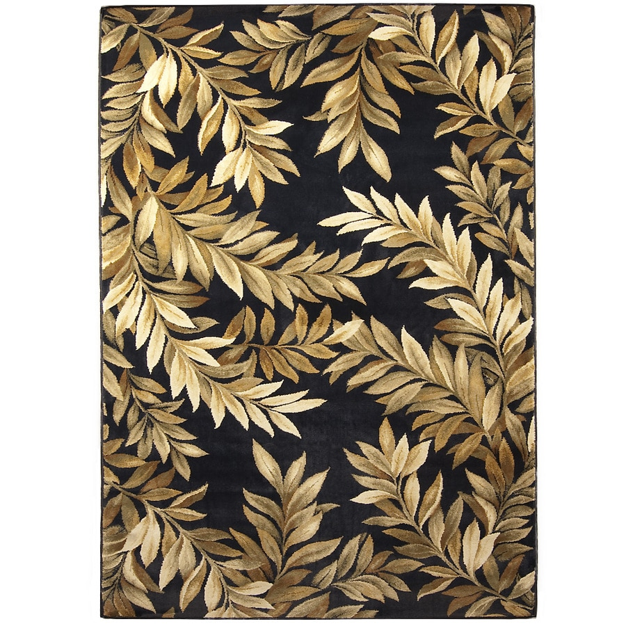 allen + roth Breezy Black Rectangular Indoor Woven Nature Area Rug (Common: 8 x 11; Actual: 94-in W x 130-in L)