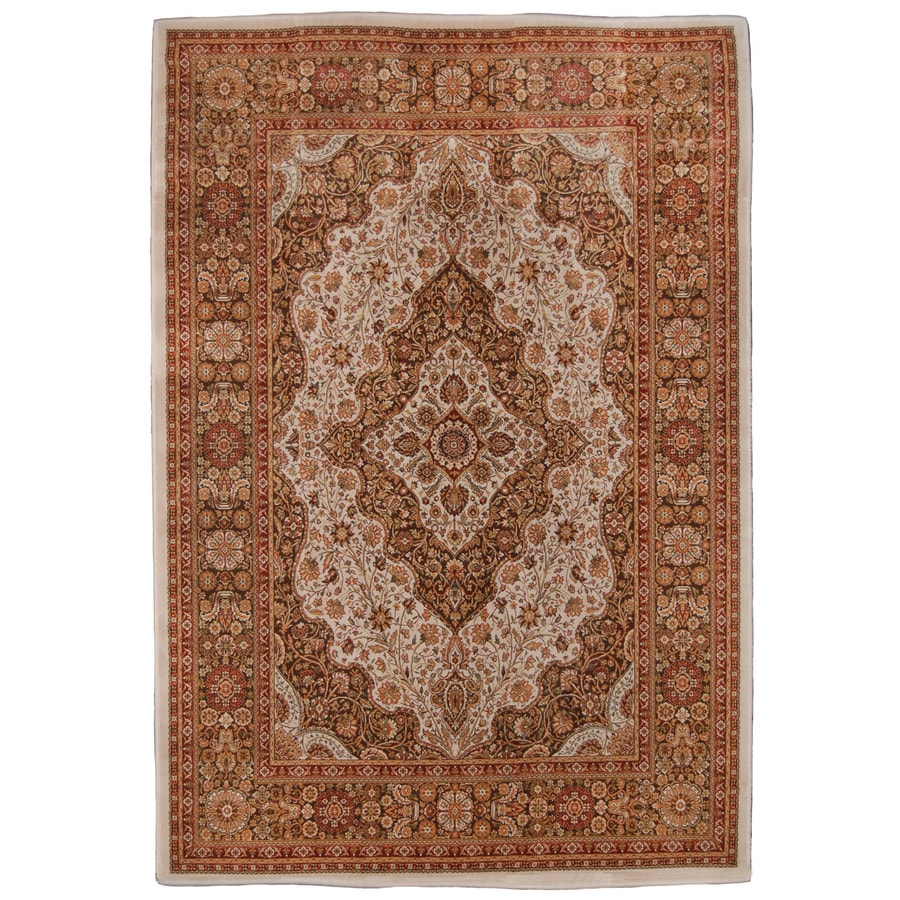 Orian Rugs Medallion Kashan 132-in x 157-in Rectangular Brown/Tan Floral Olefin/Polypropylene Area Rug