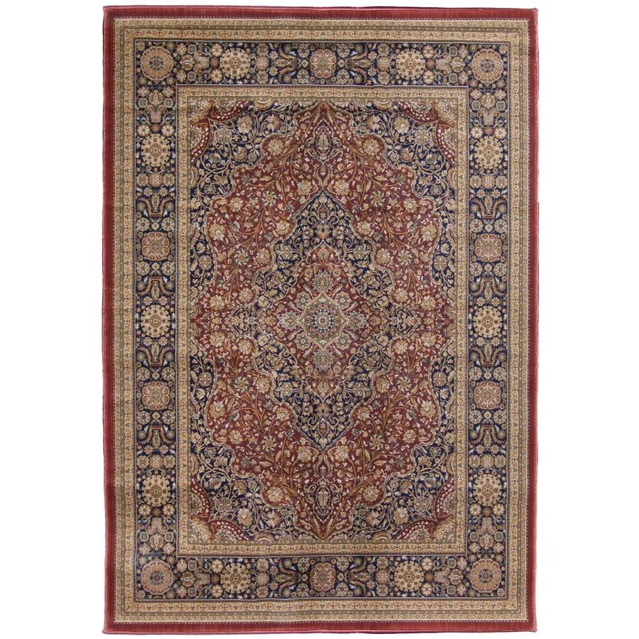 Orian Rugs Medallion Kashan 132-in x 157-in Rectangular Red/Pink Floral Olefin/Polypropylene Area Rug