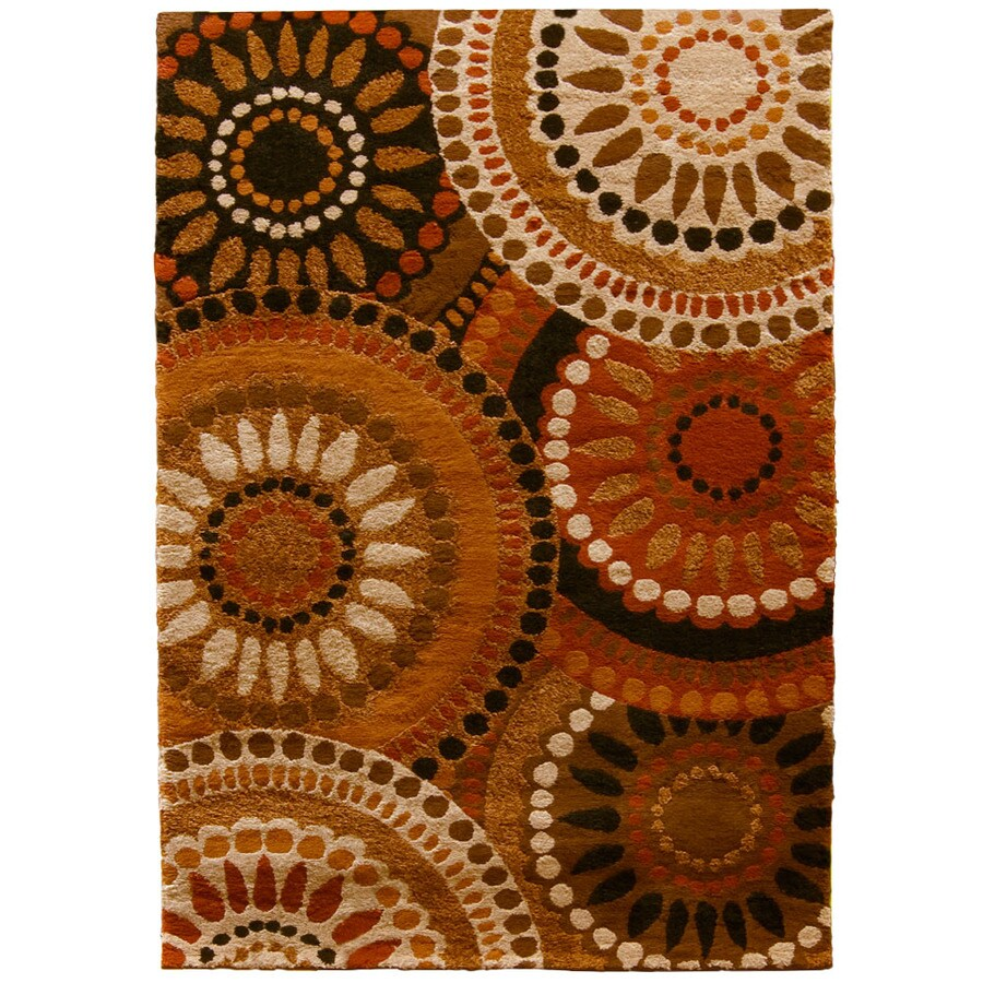 Orian Rugs Merrifield Rectangular Orange Floral Woven Area Rug (Common: 4-ft x 6-ft; Actual: 3.91-ft x 5.41-ft)