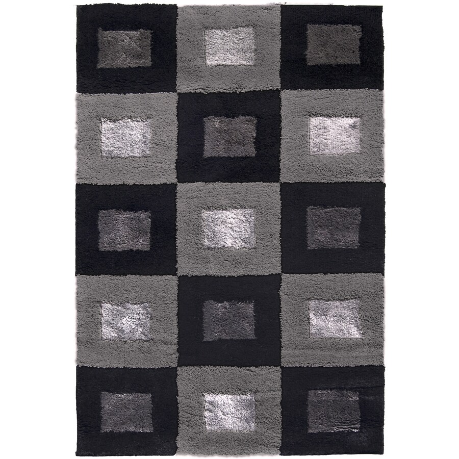 allen + roth Big City 7-ft 10-in x 10-ft Rectangular Black Block Area Rug
