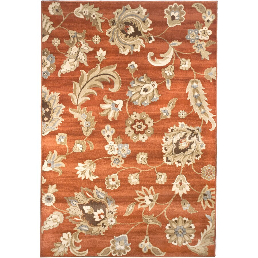 allen + roth Rowley Rectangular Red Floral Woven Area Rug (Common: 10-ft x 13-ft; Actual: 10-ft x 13.08-ft)